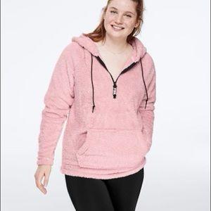 Pink teddy half-zip pullover